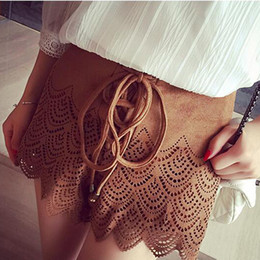 Wholesale-Faux Suede Short High Waist Lace Hollow Out Shorts Girl Bohemian Vintage Hot Short Brown Suede