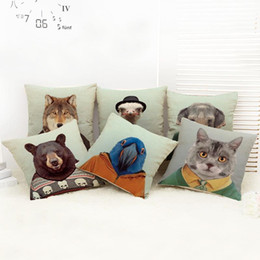 45cm Animals Dog Cat Elephant Cotton Linen Fabric Waist Pillow 18inch Fashion New Home Gift Coffeehouse Decoration Sofa Car Cushion