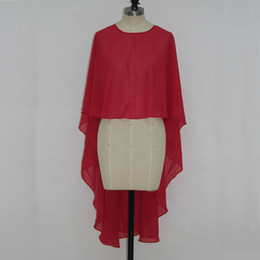 Red Chiffon Bolero Jacket Real Picture Crew Neck High Low Wedding Evening Party Wraps Cheap High Quality Accessories