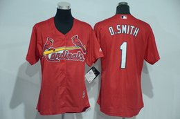 Wholesale St Louis Cardinals Cool Base Jerseys Womens Ozzie Smith Red Baseball Jersey Stitched Name Number and Logos