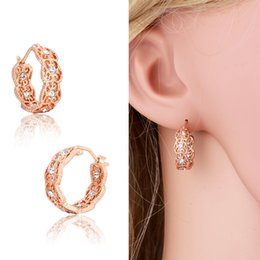 Wholesale 18K Rose Gold Plated Filligree Cluster Crystals Hie Hoop Earrings Fashion Hot Gift for Kids Girls Baby Children Women Jewelry