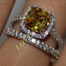Lady's S925 Sterling Silver Cushion-cut Yellow Topaz CZ Guard Band Wedding Ring Jewelry for Women