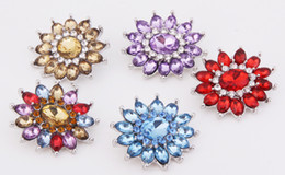 Fashion KZ1169 Beauty 10pcs mixed Colorful Rhinestone Flowers 18MM ginger snap buttons for DIY ginger snap Jewelry Accessories charm