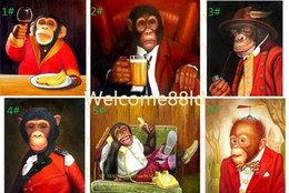 Wholesale Top Quality Pure Hand Painted Cute Monkeys Portrait Art Oil Painting Canvas choose from pictures with customized size accepted