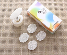 50g white elliptical shape flower patten Moon Cake Molds with 4 Stamps plastic hand pressure chinese mooncake mold,20sets lot