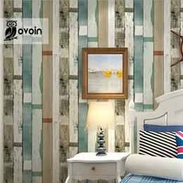 Wholesale Designer rustic embossed wood panel wallpaper vintage stripe feature wall paper roll bedroom living room home decor