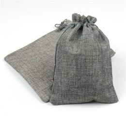 Wholesale Hessian Linen Rustic Burlap Drawstring Jute Candy Gift Christmas Herb Seed Wedding Favors Packaging Pouches Home Storage Gunny Bags x18cm