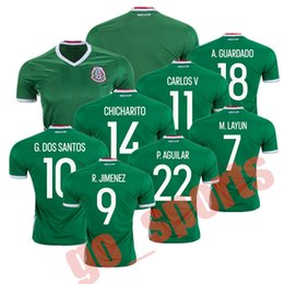 Wholesale 2016 Century American Cup Mexico Home Green Soccer Jerseys Best Quality CHICHARITO G DOS SANTOS M LAYUN CARLOS V A GUARDADO Soccer Jersey