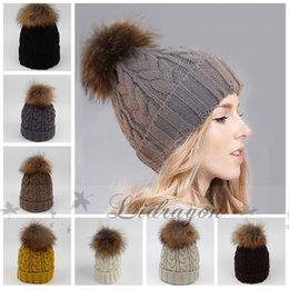 Wholesale Fashion Raccoon fur ball cap pom poms winter hat for women girl s beanie hat knitted beanies cap brand new thick female cap M264