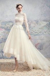 high low tea length long sleeved wedding dresses 2017 high neck lace bodice tulle skirt A-line wedding gowns