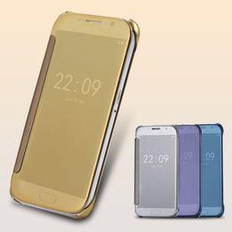 S6 s7 Edge Plus ! Leather + Hard Plastic Flip Plating Mirror Case for Samsung Galaxy S7 S6   S6 Edge   S6 Edge+ plus Slim Phone Cover