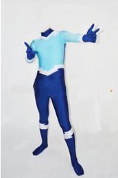 Teen Titans Aqualad Superhero Costume Blue & Light Blue halloween Spandex mens Aqualad costume The most popular