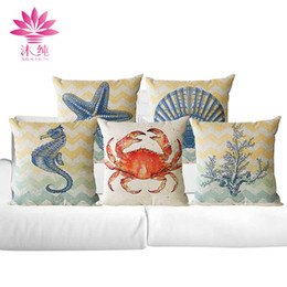 muchun Brand Ocean Style Christmas Linen Pillow Cover Square Halloween Party 45*45cm Home Textiles Decorative Pillow Case