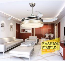 Living room dining room lights LED fan stealth ceiling pendant fan lights retractable 42inch Golden lamp ceiling pendant fan