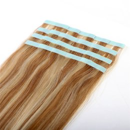 """LUMMY Tape In Brazilian Indian Peruvian Human Hair Extensions 12""""-28"""" Piano Color #27 613 40 pieces 100g Tape Human Hair Extensions"""