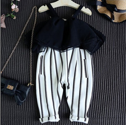 Wholesale 2016 INS hot Summer clothes baby girl kids vintage chiffon stripe jumpsuits big collar sexy lace ruffles romper overall hollow out shoulder