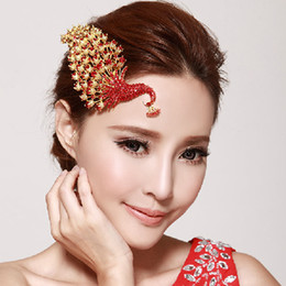 Phoenix Shape Wedding Hair Accessories 2016 Charming Gold Red Crystal Tiaras Headpieces For Bridal High Quality EN40610