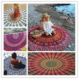 100pcs Round Printed Round Beach Towels Mandala Tapestry Yoga mat Chiffon Shwal Beach Throw Bohemian Towel 150*150cm by DHL BKT056