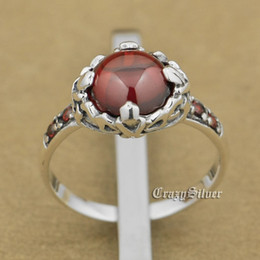 925 Sterling Silver Red CZ Flower Charm Wedding Ring 9T005