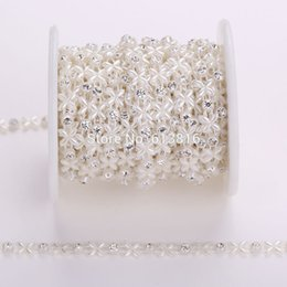 4mm+6mm 10yards Rhinestone Sewing Trim Flat Back Plastic ABS Pearl Beads String Ivory Chain For Wedding Dress Clothes Craft