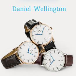 Wholesale 2016 Waterproof Men watches Luxury watch Brand DW Genuine Leather Strap Import Quartz Movement mm Wristwatch Clock Relojes Best Gift