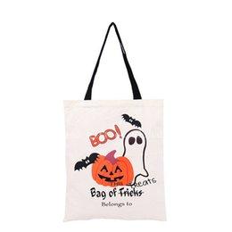 Acheter en ligne Araignées noires-Halloween à la main des sacs sac de toile de coton transport noir poignée des sacs Citrouille Hallowmas diable d'araignée cadeaux Sack bonbons épaule Sac chaud