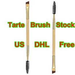 Wholesale Brand Tarte Professional Makeup Brush Tools Bamboo Handle Double Eyebrow Brush Eye Brow Comb Makeup Brush DHL Free