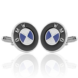 Wholesale Men Gift BMW Car Logo Cufflinks retail Alloy Material Hotsale Car Design White Blue Black Enamel Cuff Buttons