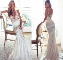 Wholesale Simply Mermaid Wedding Dresses Spaghetti V Neck Lace Wedding Gown Sweep Train Cheap Backless Lurelly Spring Vintage Bridal Dress
