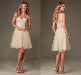 Wholesale 2016 Cheap Sexy Short Bridesmaid Dresses V Neck Lace Appliques Elegant Summer Beach Mini Backless for Weddings Party Dresses
