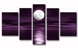 Wholesale 100 Hand Painted Oil Paintings Full Moon Sea Night Panels Wood Inside Framed Hanging Artwork Home Decoration