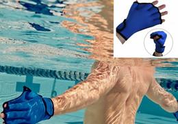 Wholesale Water Resistance Fins Hand Glove Training Fingerless Webbed Flippers Paddle Swim Gloves Training Aqua Fit Webbed Gloves KKA676