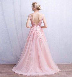 Wholesale Vestido de festa New Coming Robe De Soiree V Neck with Lace Appliques Long Tulle Party Evening Dresses Pink Navy Blue Gray