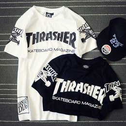 Wholesale 2016 New arrival men thrasher t shirt fitness hip hop fashion brand short sleeve shirts mens tops couple clothing tshirt homme