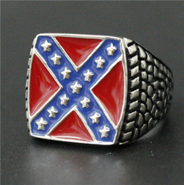 Size 7-14 Mens Womens 316L Stainless Steel Jewelry Red Blue USA flag Ring With Stars Good Quality Special New Biker Ring