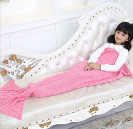 Wholesale Kids Mermaid Blankets Handmade Mermaid Tail Blankets Mermaid Tail Sleeping Bag Knit Sofa Nap Falbala Blankets Costume Cocoon colors best