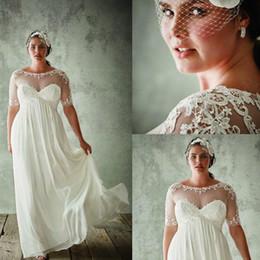Chiffon Wedding Dresses 2016 Plus Size Wedding Gowns Short Sleeves Bridal Dress Chiffon Lace Tulle Elegant 7128