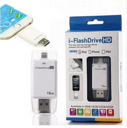 Wholesale i Flash Drive HD USB Extension U Disk External Storage Memory for iPhone iPad for IOS Device G G G G Flash Driver for PC Cell Phone