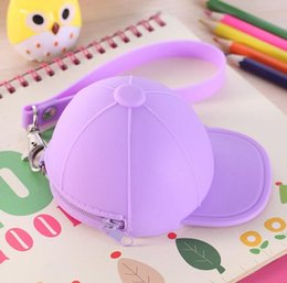 Wholesale New Cute Coin Purses cartoon candy color Wallets baseball cap coin bag mini hat key silicone female change hand bag DHL gifts