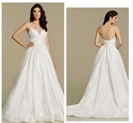 Wholesale 2017 bretelles spaghetti robes de mariée backless sweatheart une ligne longue robes de mariée robes de mariée train de balayage Robe de mariée