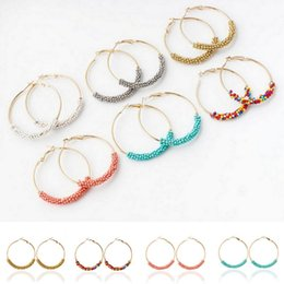 Wholesale Fashion Womens Seed Beads Basketball Wives Earrings mm Large Hoop Earrings Charms Jewelry