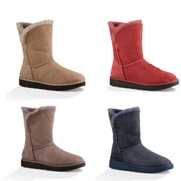 Wholesale Womens CLASSIC CUFF SHORT Australia Boots Stormy Grey Imperial Lipstick Red Natural Colors for and Retails