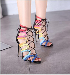Sexy Women Pumps classic thin heels Pointed Toe High Heels Shoe gladiator lace cross straps Fashion high-heeled sandals