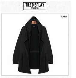 Wholesale PUNKOOL European American Style Mens Avant garde Hooded Trench Coat Men Full Sleeve Loose Streetwear Hip Hop Cloak Outerwear