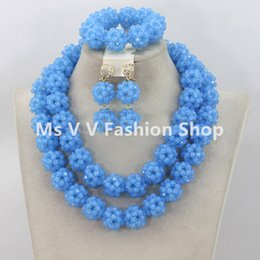 2019 Latest sky blue Indian Bridal Costume Jewelry Set Nigerian Wedding African Beads Jewerly Set for women gift Free Shipping