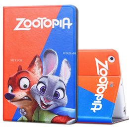 Wholesale Hot Cartoon Movie Zootopia Nick Fox Judi Rabbit Smart Leather Case Cover With Stand Holder For iPad2 Air Air2 mini Auto Sleep Awake