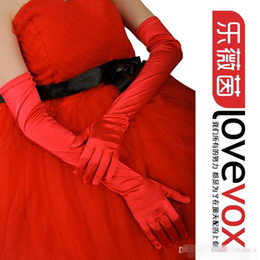 Cheap Sale Long Elastic Satin Bridal Gloves Full Fingers Wedding Gloves For Bridal Accessories White Red Black Ivory Opera Gloves