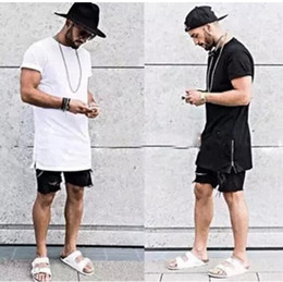 Wholesale summer style men silver side zipper t shirt streetwear style hip hop t shirts fashion clothes designer swag tshirt