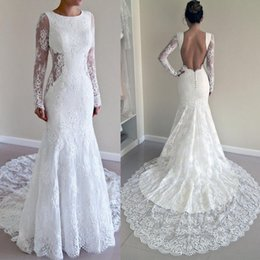 Wholesale Latest Full Lace Illusion Long Sleeves Mermaid Wedding Dresses Sexy Backless Jewel Chapel Train Trumpet Bridal Gowns EN3221