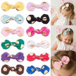 Wholesale Lovely Bunny Ear Barrettes Clips brozing Barrettes clips Cotton Bow elastic Knot Golden Gold dots rabbit ears baby hair accessories